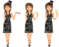 New Year's party girl trio Royalty Free Stock Image