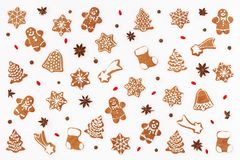 New Year`s pattern made of gingerbread cookies vector illustration