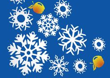 New Year's patterns. From snowflakes and apples Royalty Free Stock Image