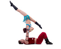 New Year's performance of acrobats in studio Royalty Free Stock Photography