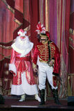 New Year's performance in moscower amateur theater. Scene of talking between Santa Claus and hussar Stock Image