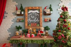 New Year`s photo zone, New Year`s location, chocolate bar. New Year`s photo zone, New Year`s location, studio with a chocolate bar Stock Image