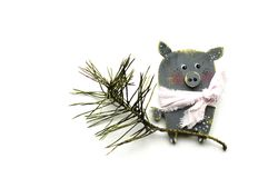 New Year`s pig on a white background, Christmas tree branch, postcard, isolate royalty free stock photo