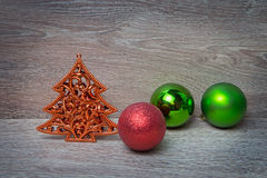 New Year's pine tree with three xmas balls stock photo
