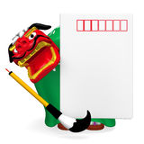New Year's Post Card With Lion Dance Royalty Free Stock Photography
