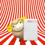 New Year's Post Card With Smile Sheep On Stripe Royalty Free Stock Photos