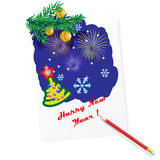 New year's postcard Royalty Free Stock Image