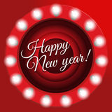 New Year`s poster in retro style. Movie ending screen background,  illustration. New year banner with light bulbs,  Stock Photography