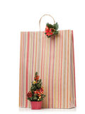 New Year's present in striped paper bag Royalty Free Stock Photo