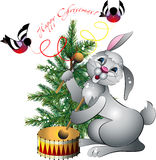 New year's rabbit with drum. On background of the fir and bullfinches on white background stock illustration