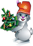 New Year's rabbit with a fir. On transparent layer royalty free illustration