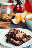 New Year's raw chocolate cookies with green buckwheat Stock Images