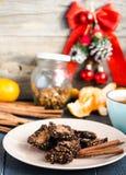 New Year's raw chocolate cookies with green buckwheat Stock Photo