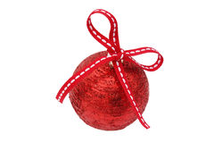 New Year's red ball with a red bow Royalty Free Stock Photos