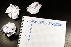 New Year's Resolution on Notebook Stock Image