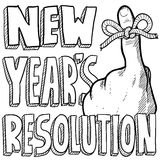 New Year's resolution sketch. Doodle style New Year's Resolution reminder in vector format. Includes string tied around the finger with text Royalty Free Stock Image