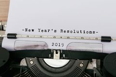 2019 New Year`s Resolution. Typed on vintage typewriter royalty free stock images