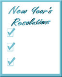 New Year's Resolutions. The words New Year's Resolutions with list of three check marks and copyspace in blue on white background royalty free illustration