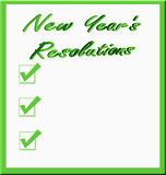 New Year's Resolutions. The words New Year's Resolutions with list of three check marks and copyspace in green on white background vector illustration