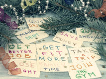 New Year's resolutions. With Chrismas decoration, aspirations and goals stock images