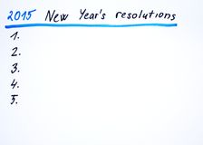 2015 New year´s resolutions. New year´s resolutions handwritten sketch Royalty Free Stock Photos
