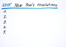 2015 New year´s resolutions. New year´s resolutions handwritten sketch Royalty Free Stock Photos