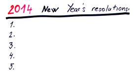2014 New year´s resolutions. New year´s resolutions handwritten sketch Royalty Free Stock Photos