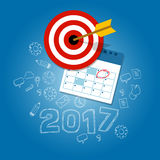 New year's resolutions illustration vector flat target calendar. 2017 new year's resolutions illustration vector flat target calendar blue Royalty Free Stock Images