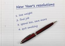 New year's resolutions list Royalty Free Stock Photo