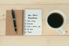 New Year`s Resolutions list. On notepad with pen and cup of coffee royalty free stock photography