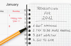 New Year's resolutions listed stock photo