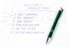 New Year's resolutions listed Royalty Free Stock Photo