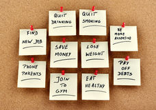 New Year's resolutions on memo cards Royalty Free Stock Photo