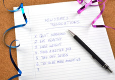 New Year's resolutions and ribbons Royalty Free Stock Image