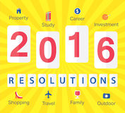 2016 New Year's resolutions. Stylish design for 2016 New Year's resolutions with icons in flat design Royalty Free Stock Image