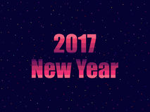 2017 New year in 80`s retro style. Text in the futuristic style, neon. Vector Royalty Free Stock Images