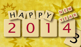 New Year's scrabble. Wooden scrabble tiles spelling out Happy New Year 2013 against festive background. Illustration Stock Image