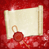 New Year's scroll on a red holiday Royalty Free Stock Photos