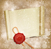 New Year's scroll with the wax seal of Santa Stock Photos