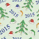 New Year's seamless texture. With a fir-tree, and caps royalty free illustration