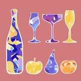 New Year`s set of champagne and fruit. royalty free illustration