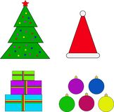 New year`s Christmas set of 4 colored items. New year`s set of 4 colored items vector illustration
