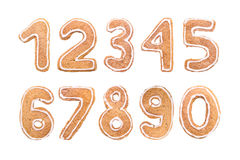 New Year`s set of numbers from ginger biscuits stock images