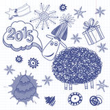 New Year`s Set. Vector illustration, skech with Lamb - symbol of. New Year doodle background with cute lamb, a symbol of 2015 Stock Photo