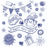 New Year`s Set. Vector illustration, skech with monkey - symbol Stock Photo