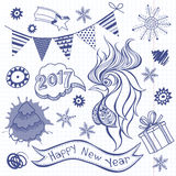 New Year`s Set. Vector illustration, sketch with  Rooster -  ani Stock Image