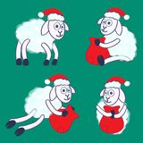 New Year's sheeps. In a red cap with a bag Stock Images