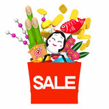 New Year's Shopping Bag Front Royalty Free Stock Photos