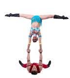 New Year's show of cheerful young acrobats Royalty Free Stock Photos