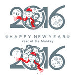 New Year's  signs 2016.  Monkey in circle Stock Images